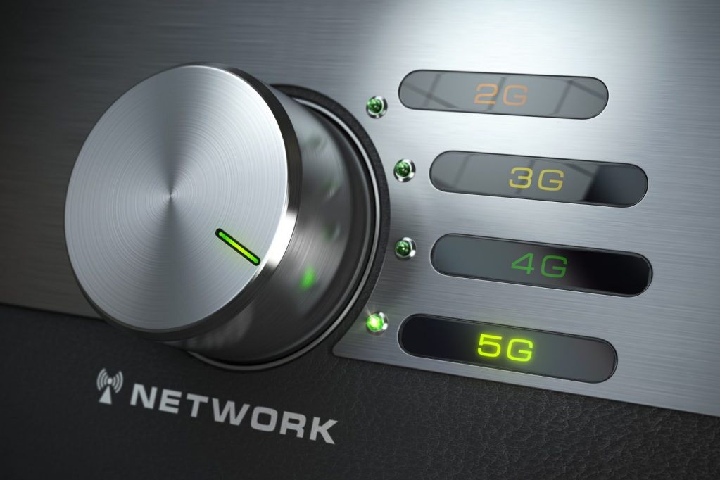 5G network. Switch knob with different telecommunication standarts in mobile network.